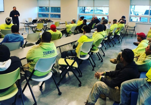 Turner Brothers employees in a safety meeting