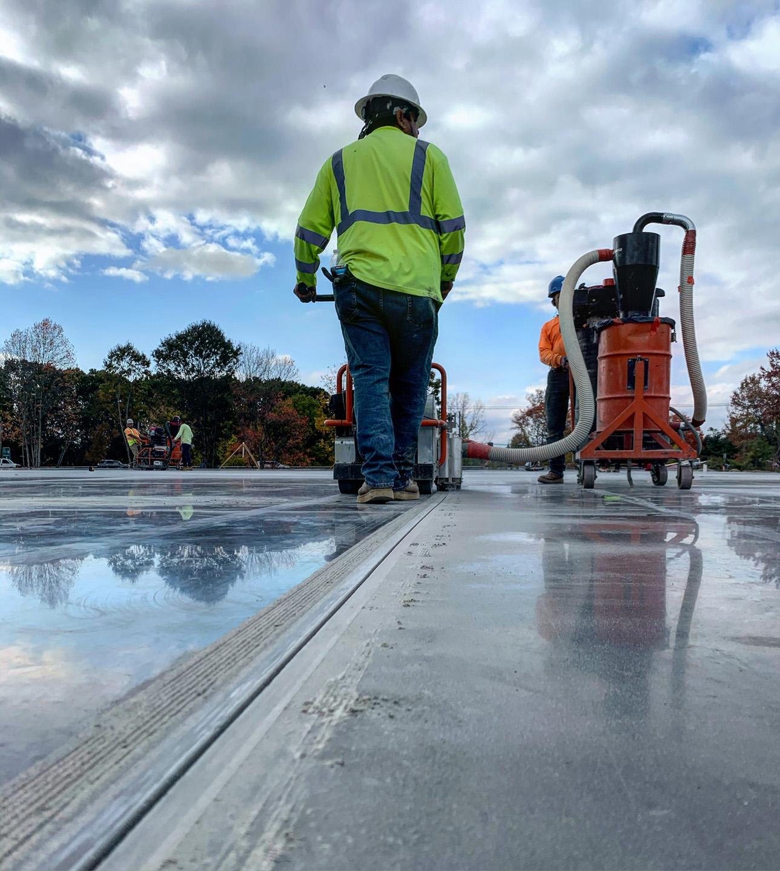Smoothing concrete slab