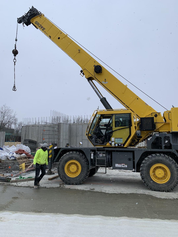 A crane at Broadstone jobsite