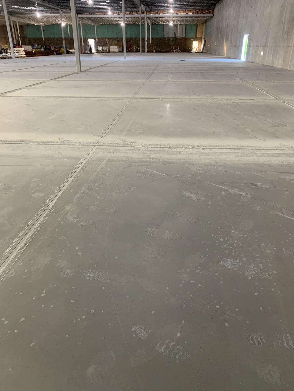 Completed interior concrete slab floor installation