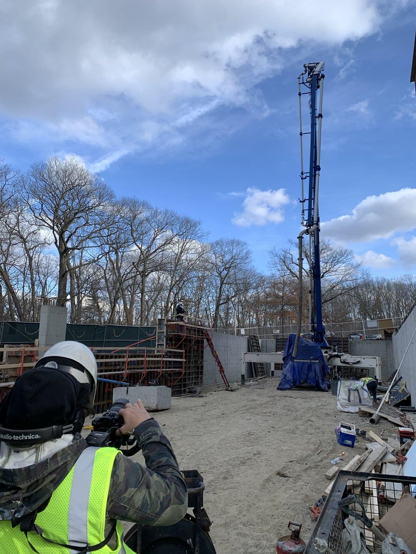 Concrete pump at Hanover jobsite