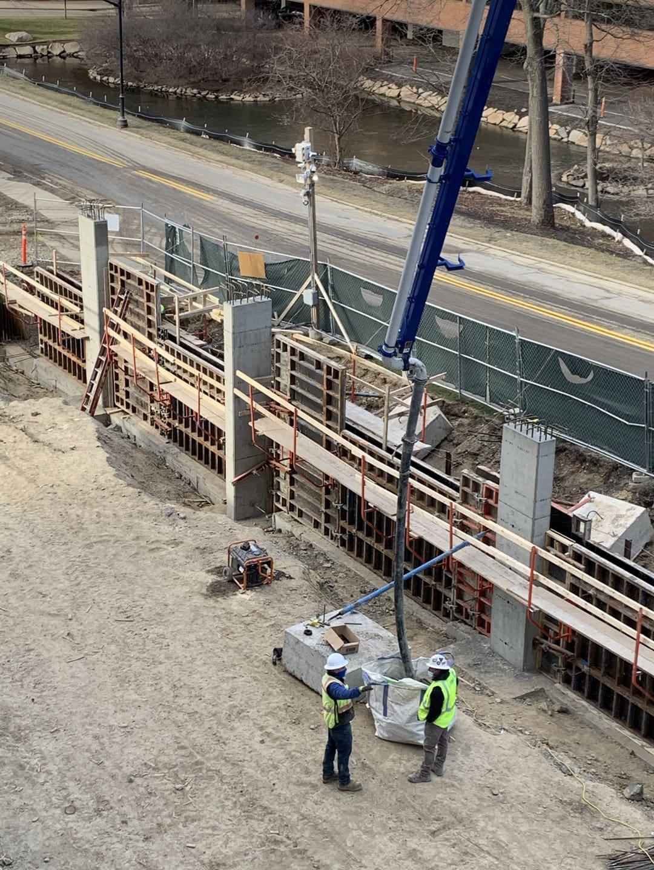 Concrete pumping at Hanover jobsite